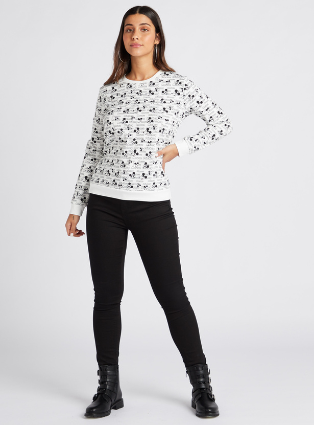 Mickey Mouse Print Sweatshirt with Long Sleeves