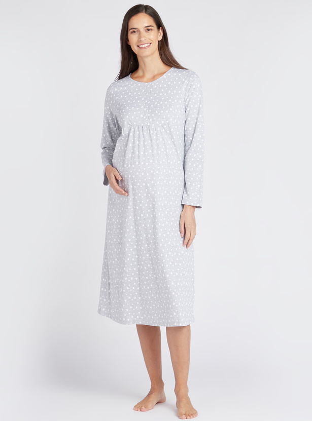 All Over Heart Print Round Neck Sleepshirt with Long Sleeves