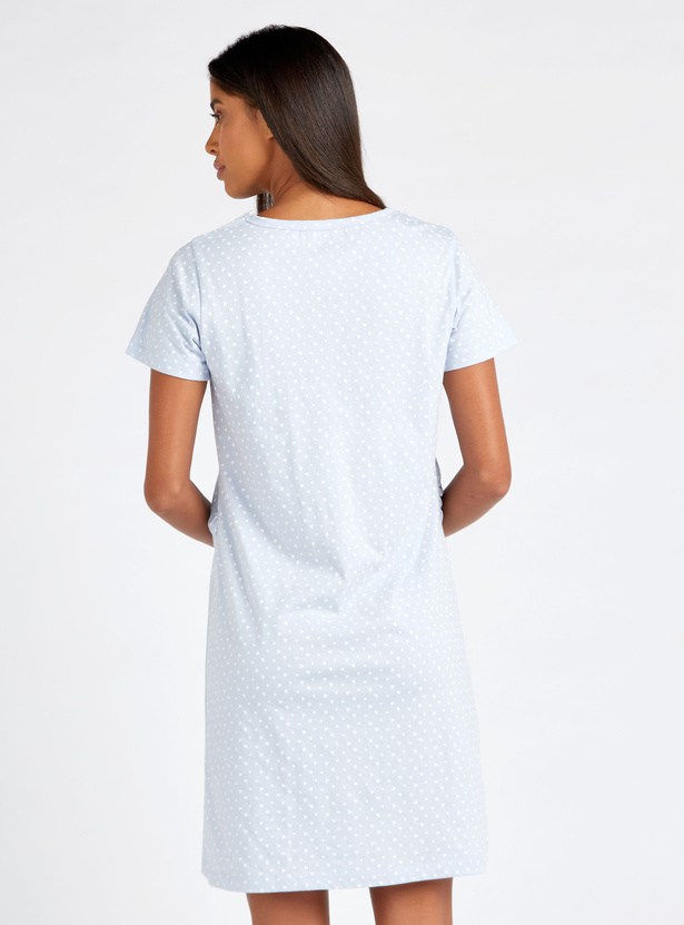 Printed Maternity V-neck Sleepshirt with Short Sleeves