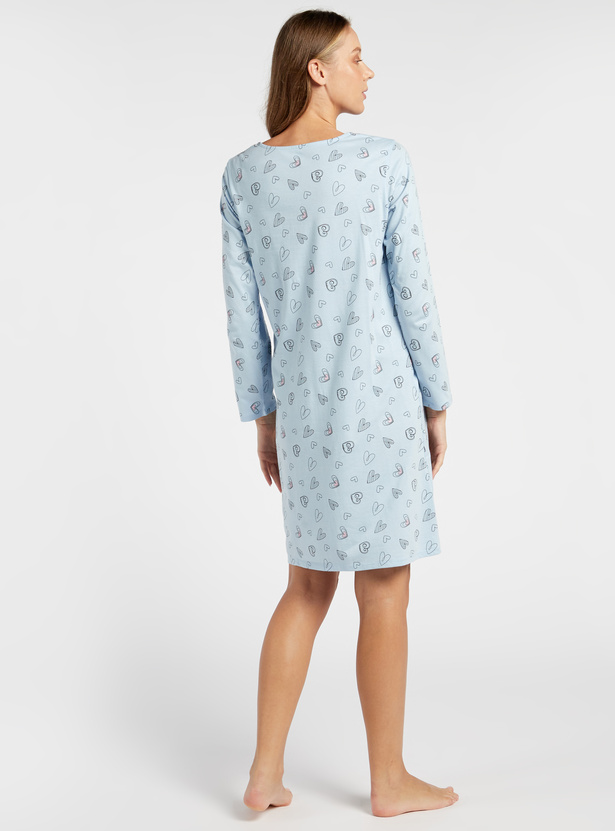 Heart Print Maternity Sleep Dress with Round Neck and Long Sleeves