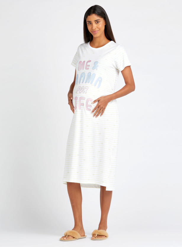 Printed Maternity Round Neck Sleepshirt with Short Sleeves