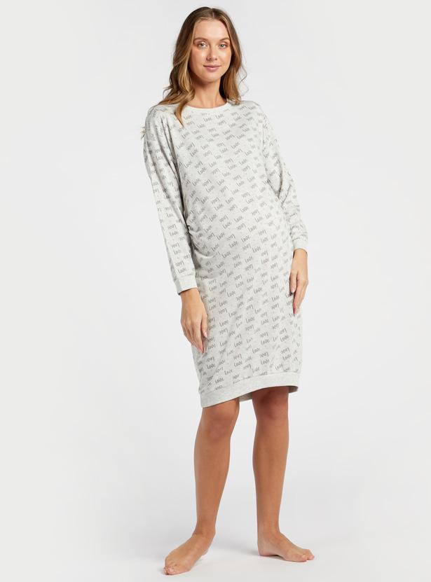 Printed Round Neck Maternity Sleepshirt with Long Sleeves
