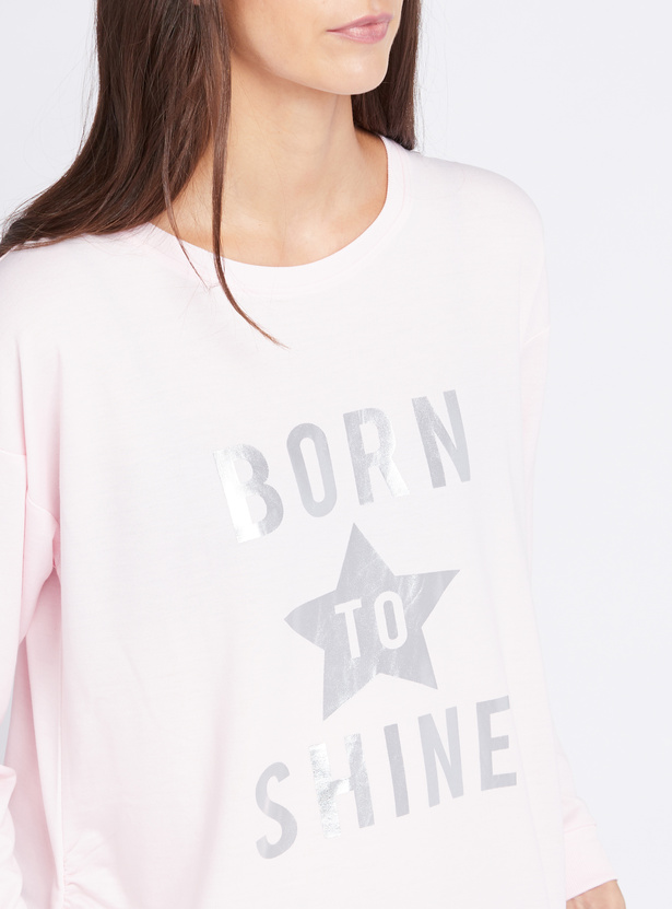 Cozy Collection Slogan Print Maternity Sleepshirt with Long Sleeves