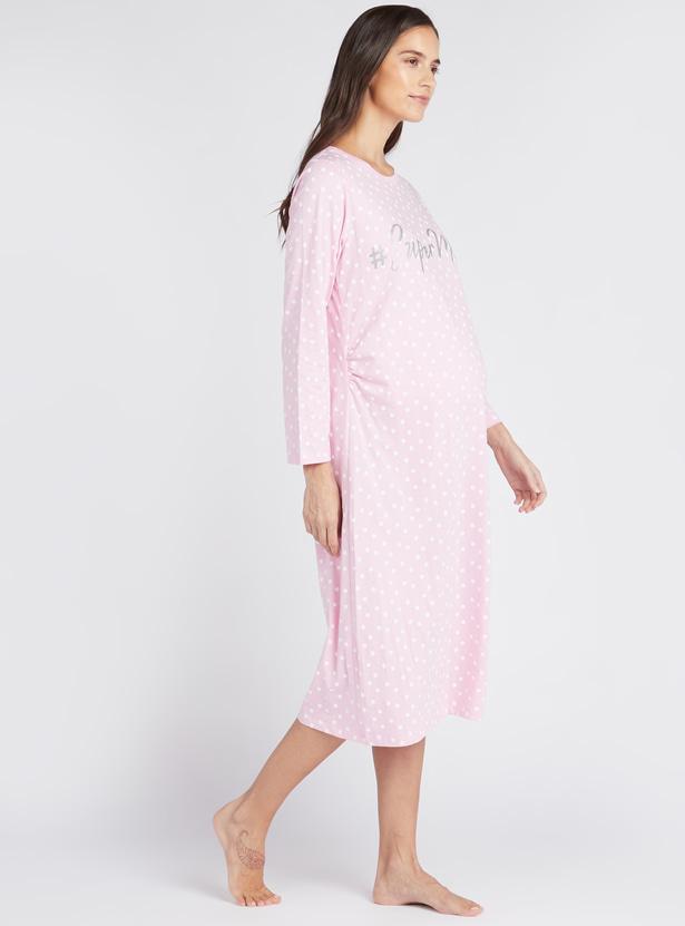 Printed Round Neck Sleepshirt with Long Sleeves