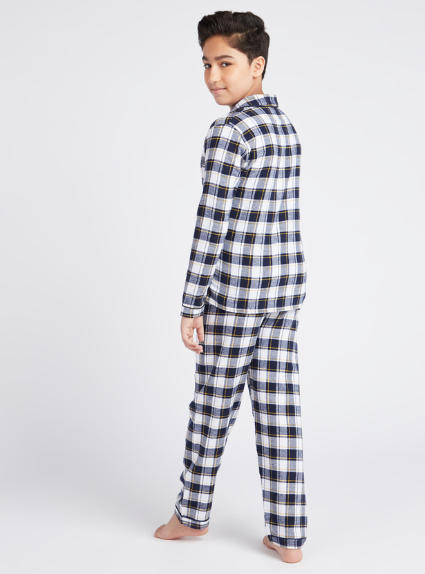 Cozy Collection Checked Collared Neck Shirt with Full Length Pyjamas