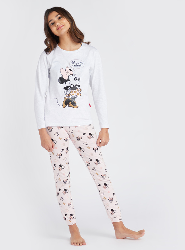 Minnie Mouse Print Round Neck Top and Pyjama Set
