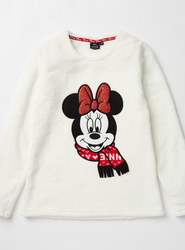 Cozy Collection Minnie Mouse Print Top and Full Length Pyjama Set