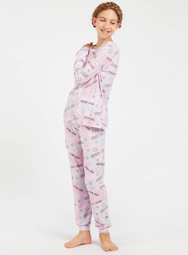 Cozy Collection Graphic Print T-shirt and Full Length Pyjama Set
