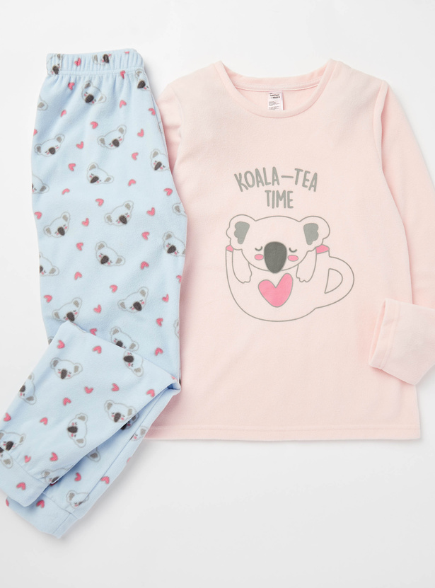 Cozy Collection Koala Print Round Neck T-shirt and Joggers Set