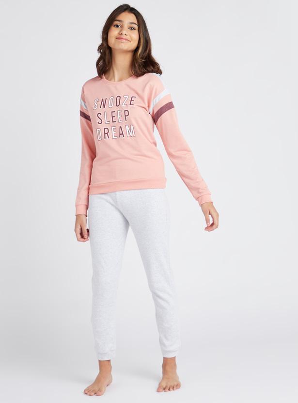 Cozy Collection Slogan Print Round Neck T-shirt and Pyjama Set