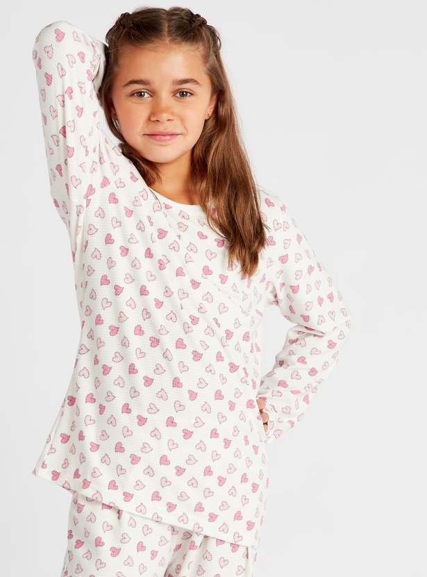 Cozy Collection Heart Print Round Neck T-shirt and Joggers Set