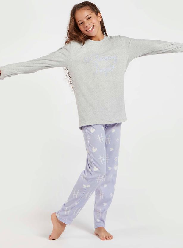 Slogan Print Long Sleeves T-shirt and Full Length Pyjama Set