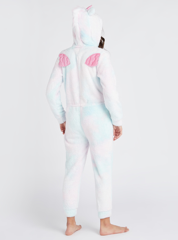 Cozy Collection Unicorn Plush Detail Hooded Onesie with Long Sleeves