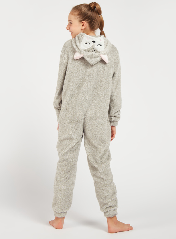 Cozy Collection Zip Front Fox Onesie with Long Sleeves and Hood