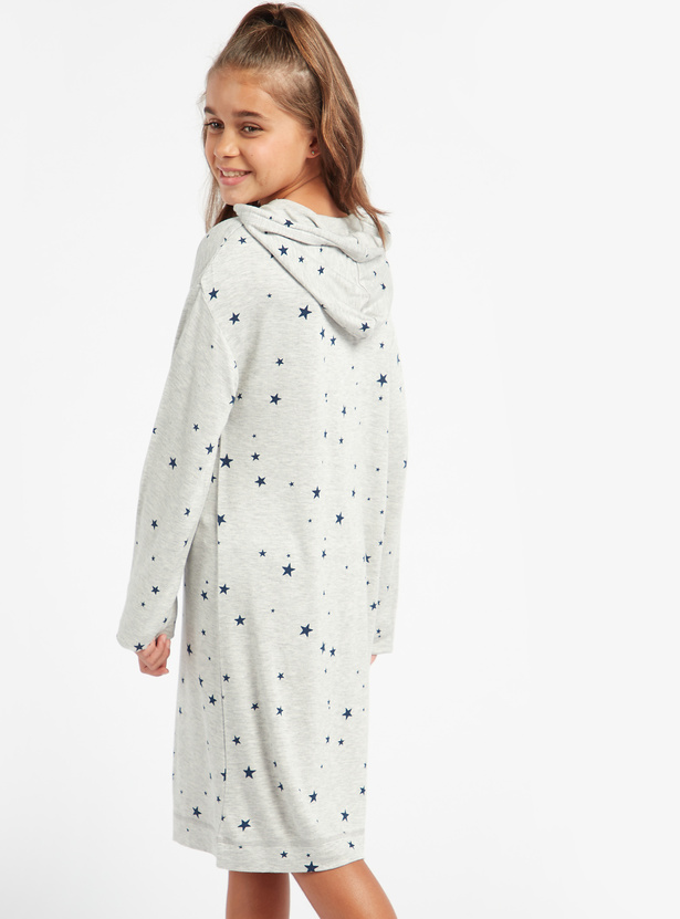 Cozy Collection Star Print Sleep Dress with Long Sleeves and Hood