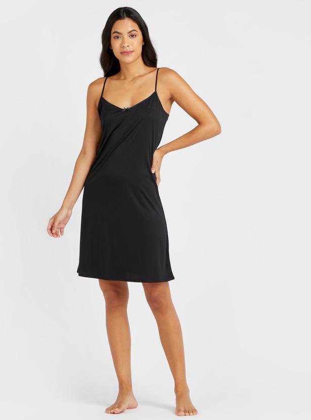 Solid Shaping Sleeveless Slip Dress with V-neck