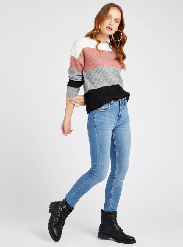 Textured Colour Block Sweater with Long Sleeves