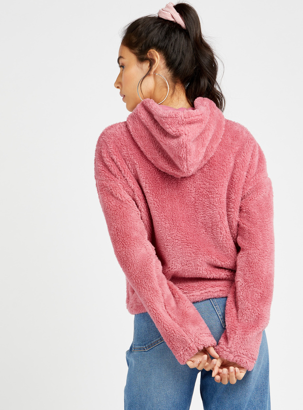Teddy Fabirc Hoodie with Long Sleeves and Toggle Hem