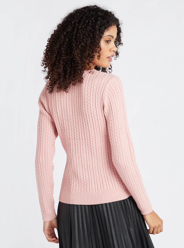 Textured Round Neck Cable Sweater