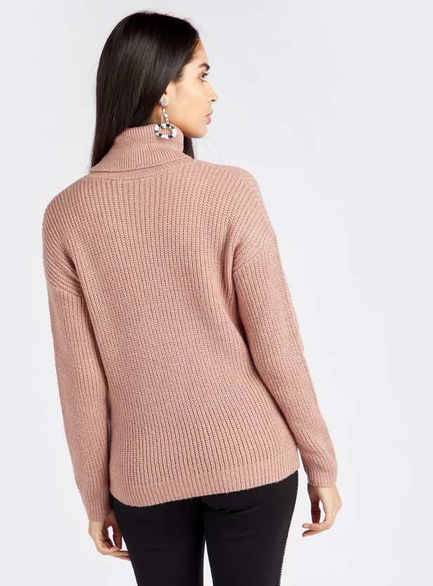 Knitted Turtle Neck Sweater with Long Sleeves