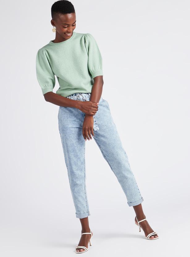 Textured Round Neck Sweater with Short Volume Sleeves