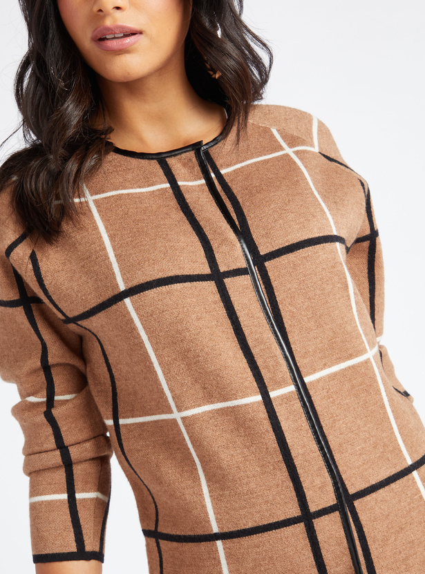 Checked Round Neck Cardigan with Long Sleeves