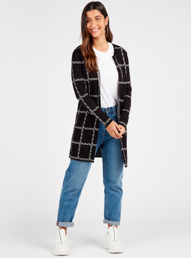 Checked Open Front Cardigan with Long Sleeves