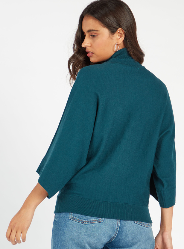 Solid High Neck Sweater with 3/4 Sleeves