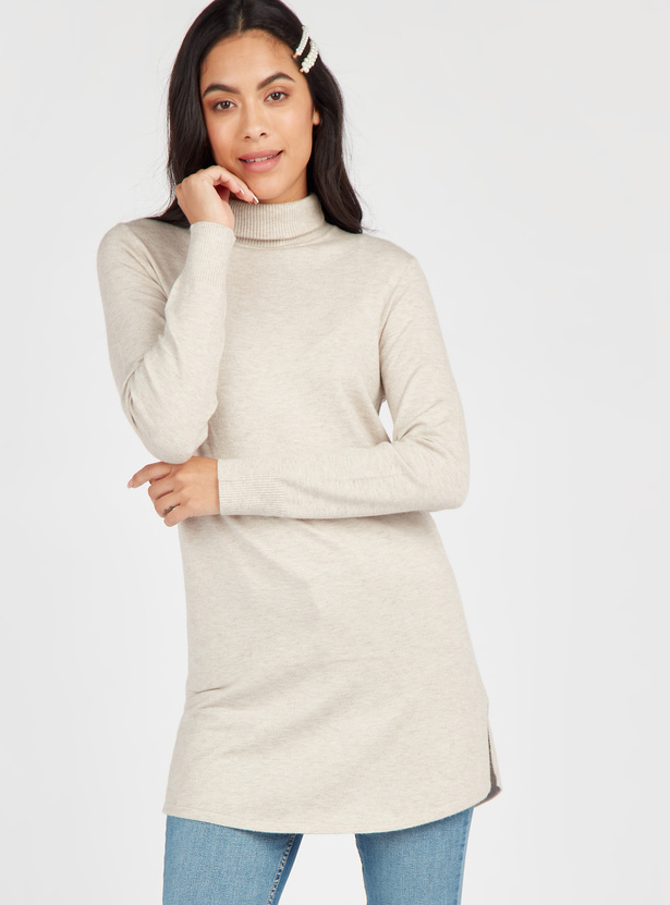 Solid Sweater with High Neck and Long Sleeves