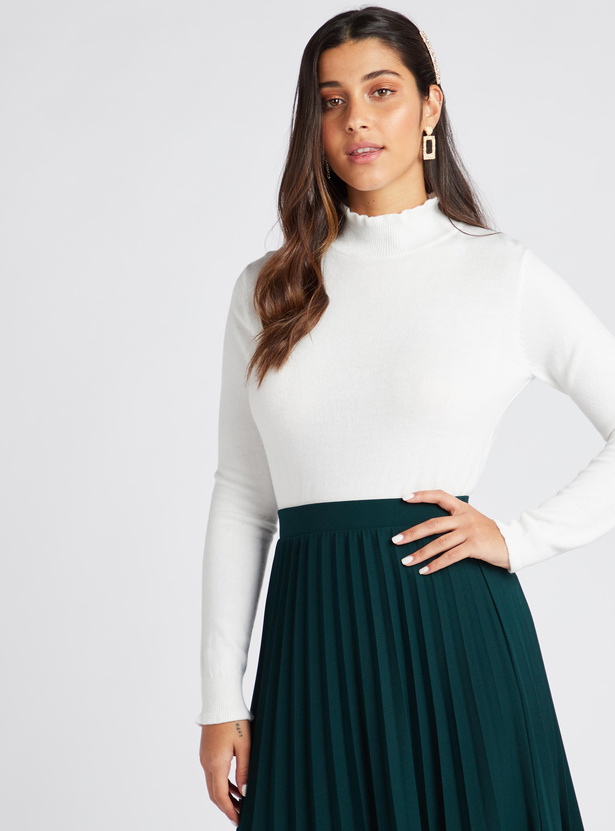 Textured High Neck Jumper with Long Sleeves