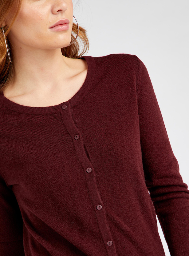 Textured Cardigan with Round Neck and Long Sleeves