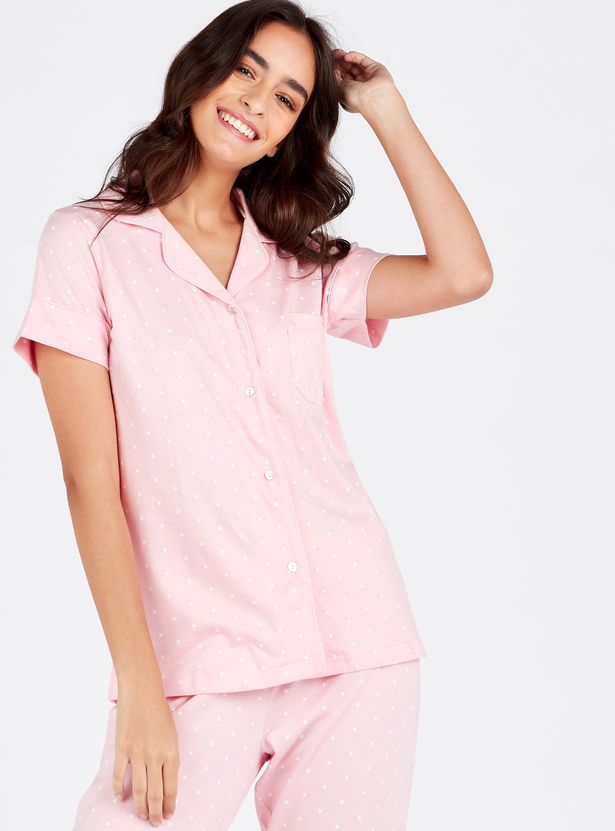 Printed Notch Collared Shirt with Full Length Pyjama and Eye Mask