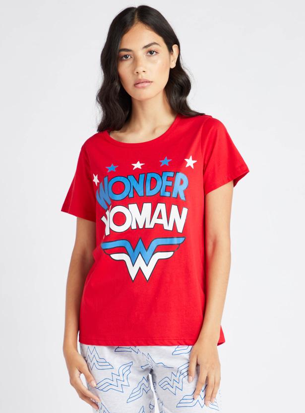 Wonder Woman Print Round Neck T-shirt and Pyjama Set
