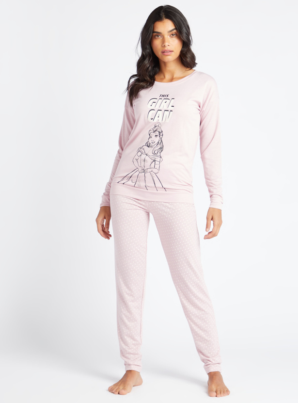 Cozy Collection Printed Round Neck T-shirt with Full Length Pyjamas