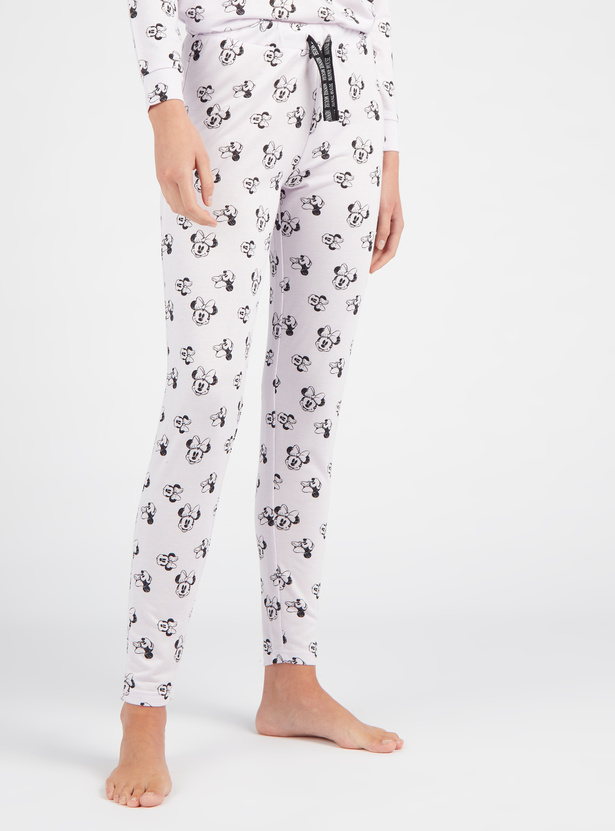 Cozy Collection Printed Round Neck T-shirt with Full Length Pyjama