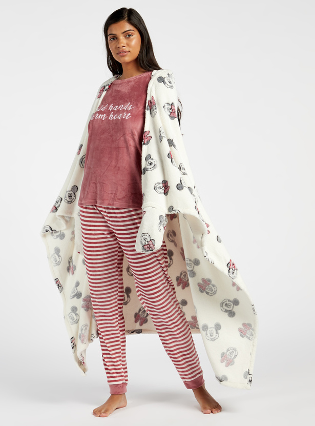 Cozy Collection Printed Blankie with Hooded Neck and Hand Coverings