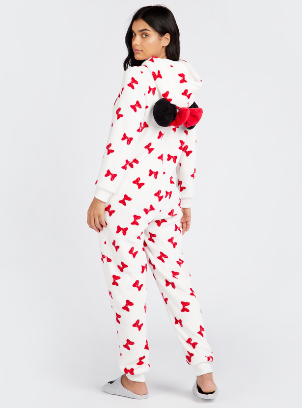 Cozy Collection Minnie Print Full Length Onesie with Hooded Neck