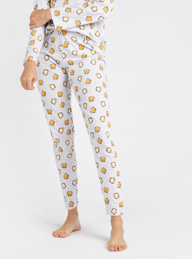 Garfield Print T-shirt with Full Length Pyjama Set