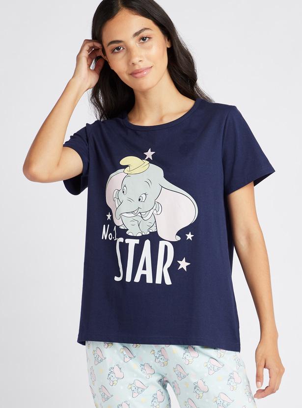 Graphic Print Round Neck T-shirt and Full Length Pyjama Set