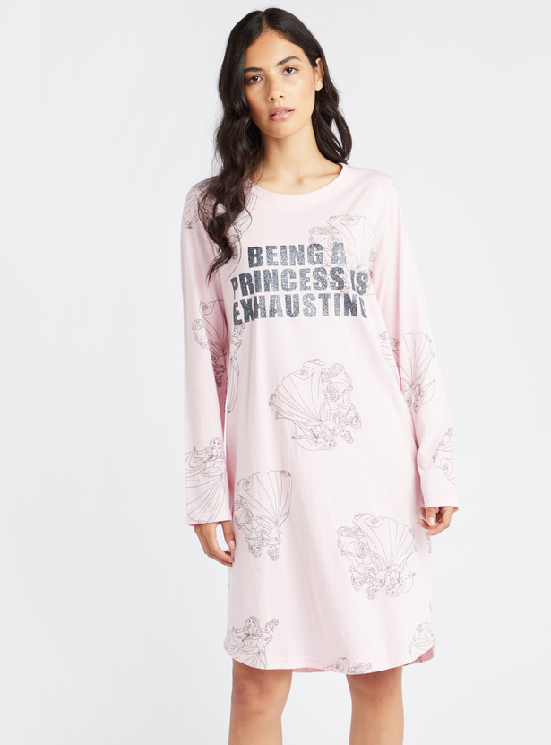 Printed Sleep Dress with Round Neck and Long Sleeves