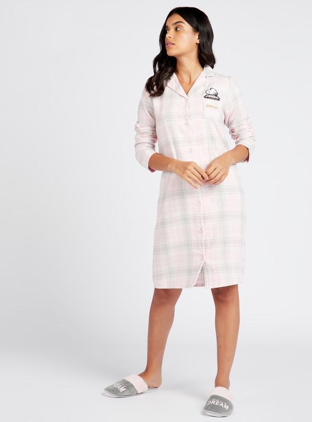 قميص نوم كاروهات بأكمام طويلة وياقة عادية - تشكيلة كوزي