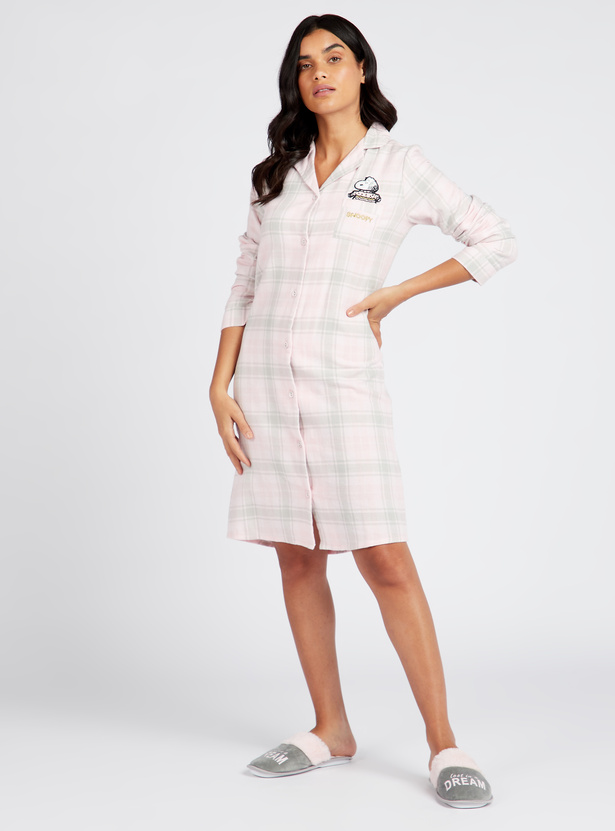 Cozy Collection Checked Sleepshirt with Long Sleeves and Collar