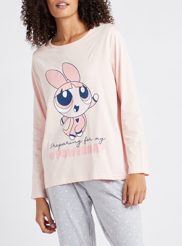 Power Puff Girls Printed Round Neck T-shirt and Pyjama Set