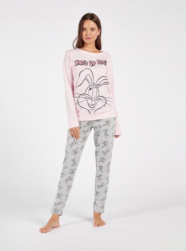 Cozy Collection Bugs Bunny Print T-shirt and Full Length Pyjama Set