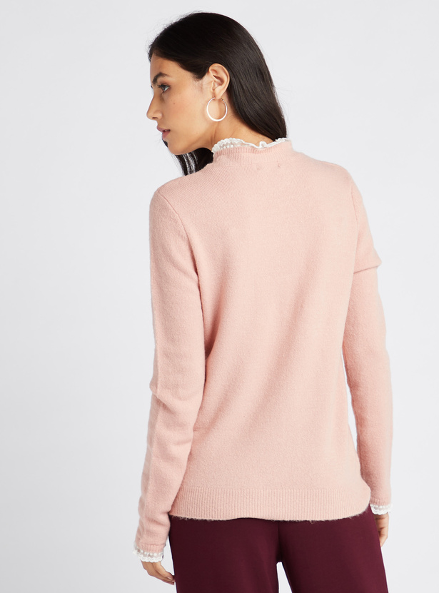 Textured Sweater with Lace Trims and Long Sleeves