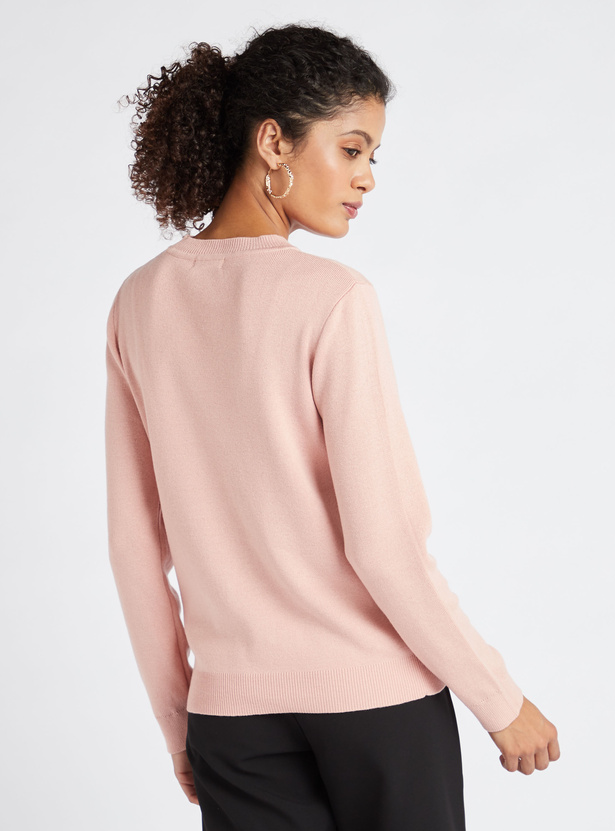 Pearl Detail Sweater with Round Neck and Long Sleeves