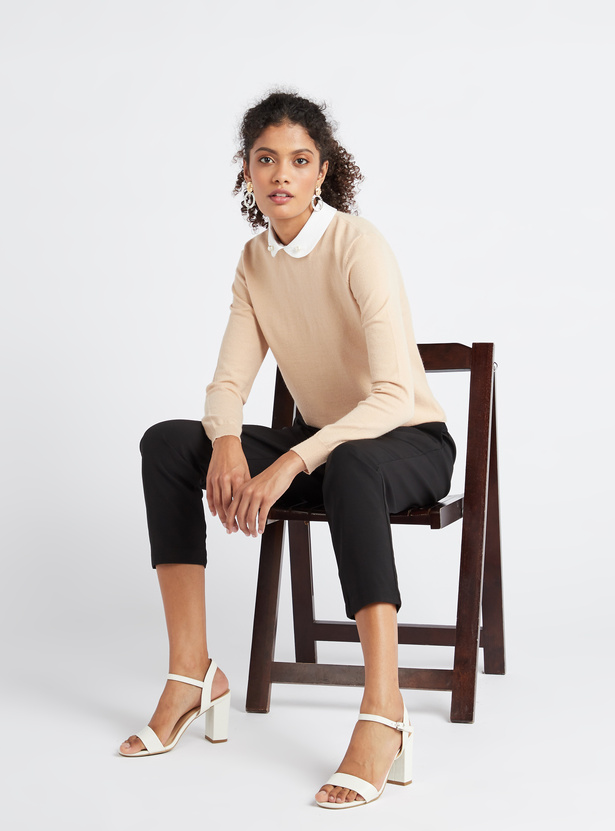 Solid Jumper with Mock Collar and Long Sleeves