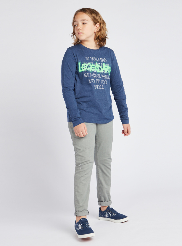 Typographic Print Round Neck T-shirt with Long Sleeves