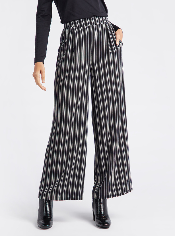 Full Length Striped Mid-Rise Palazzos with Elasticised Waistband