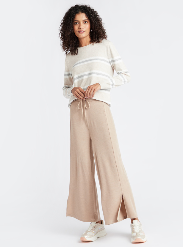 Full Length Solid Palazzos with Slits and Drawstring Closure